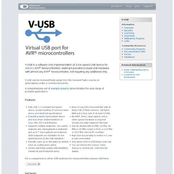 V-USB - A Firmware-Only USB Driver for Atmel AVR Microcontrollers