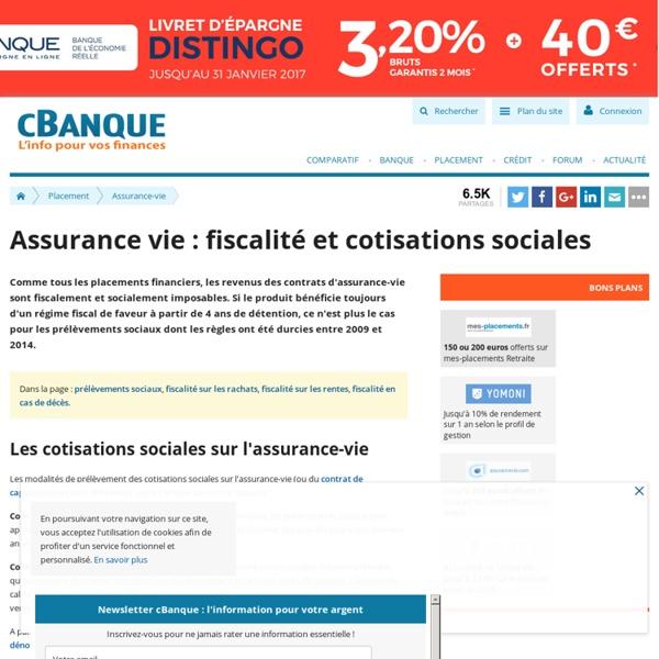 Fiscalité de l'Assurance-vie (impôts et cotisations sociales)