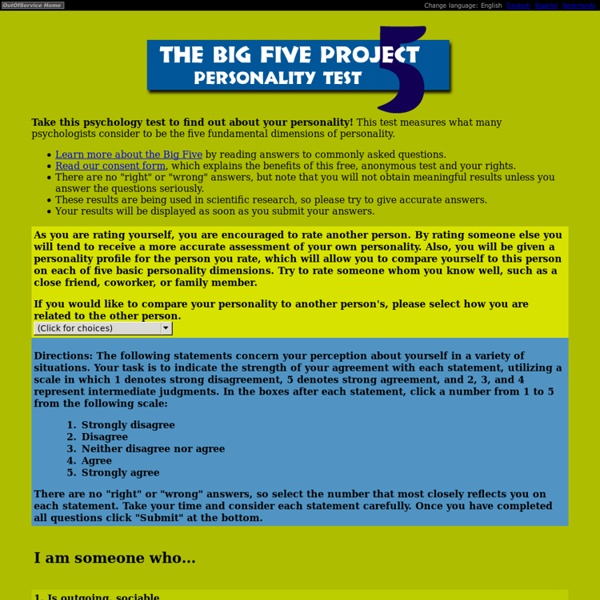 research method for big five personality project psychology essay Online personality research projects the big five personality test a 60-item short form of the big 5 using items from the international personality item pool to see the list of items selected from, click here.