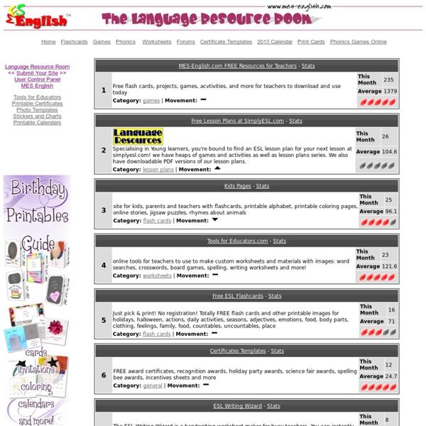 Recursos para Profesores de Idiomas: tarjetas, escritura, actividades, planes de lecciones, lecciones de gramática y más