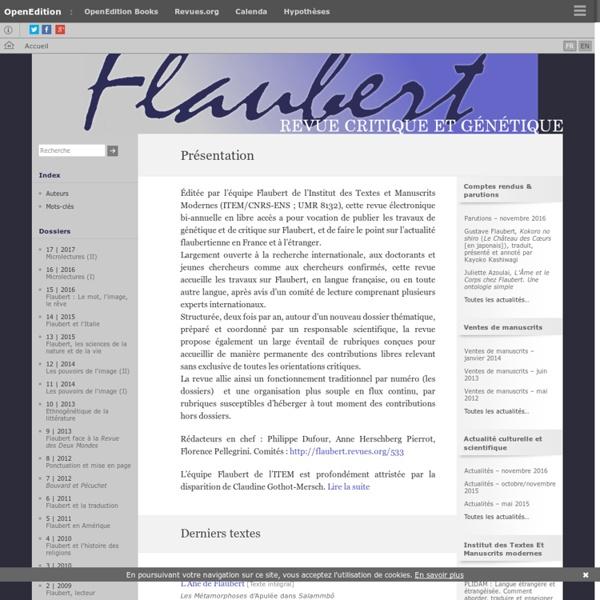 Flaubert - Revue critique et génétique