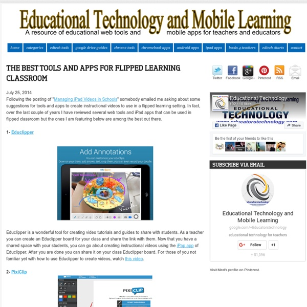 Educational Technology and Mobile Learning: The Best Tools and Apps for Flipped Learning Classroom