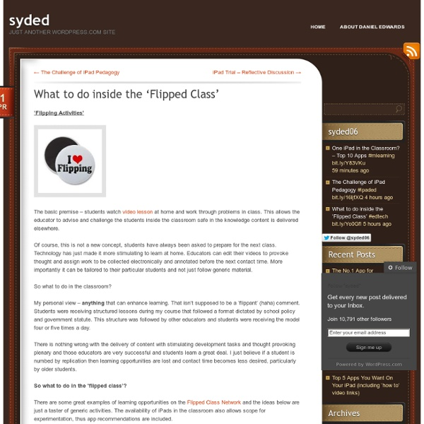 What To Do Inside the 'Flipped Class'