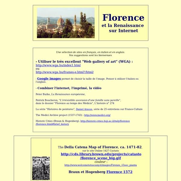 Florence et la Renaissance sur Internet