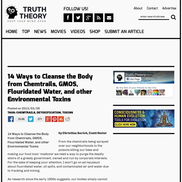 14 Ways to Cleanse the Body from Chemtrails, GMOS, Flouridated Water, and other Environmental Toxins