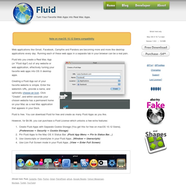 Fluid - Turn Your Favorite Web Apps into Real Mac Apps.