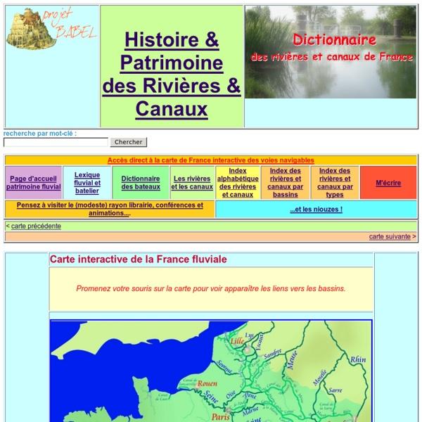Carte de la France fluviale - Dictionnaire des canaux et rivière