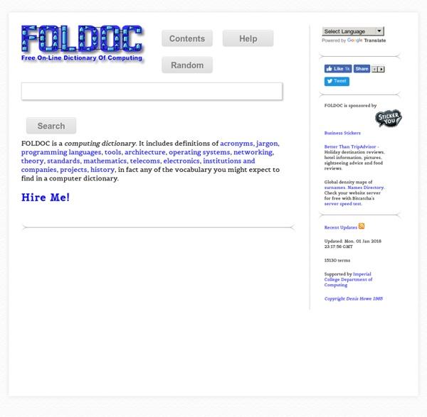 FOLDOC - Computing Dictionary