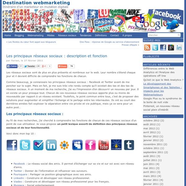 Les principaux réseaux sociaux : description et fonctionDestination webmarketing