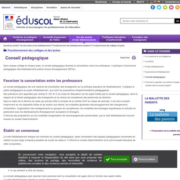 Fonctionnement des collèges et lycées - Conseil pédagogique
