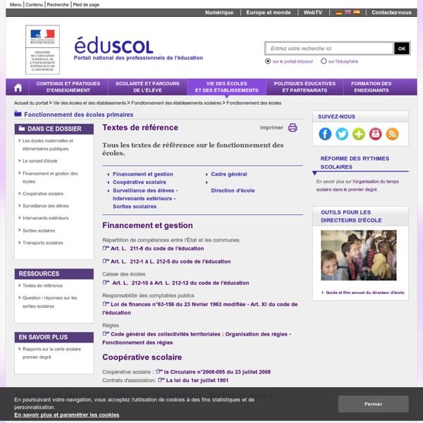 Fonctionnement des écoles - Textes de référence