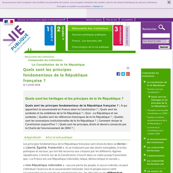 Quels sont les principes fondamentaux de la République française ? - Quels sont les héritages et les principes de la Ve République