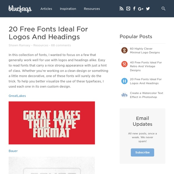 20 Free Fonts Ideal For Logos And Headings