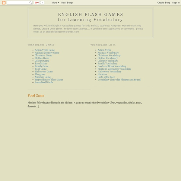 ENGLISH FLASH GAMES for Learning Vocabulary: Food Game