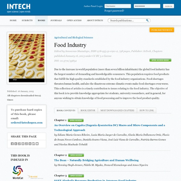 INTECH16/01/13Food IndustryAu sommaire notamment:Acidified Foods: Food Safety Considerations for Food ProcessorsMicrobiologica