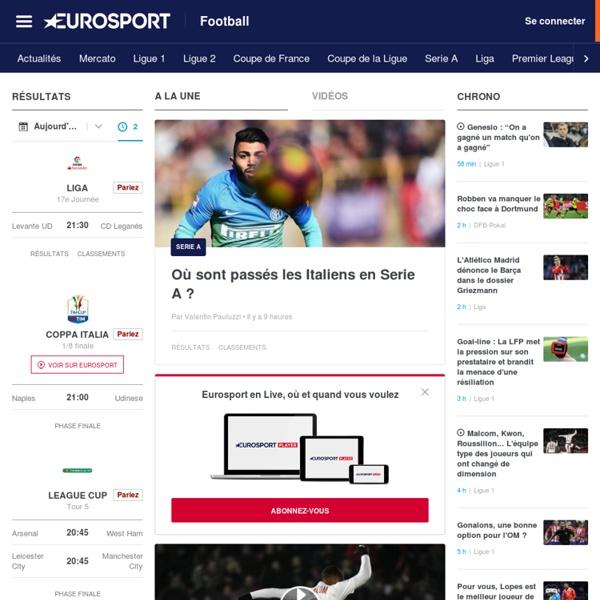 Football : résultats, actualité foot en direct, transferts, L1, Ligue 2, Coupe du Monde foot avec Eurosport