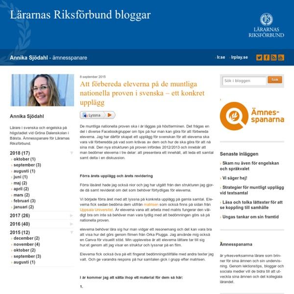 Att förbereda eleverna på de muntliga nationella proven i svenska – ett konkret upplägg
