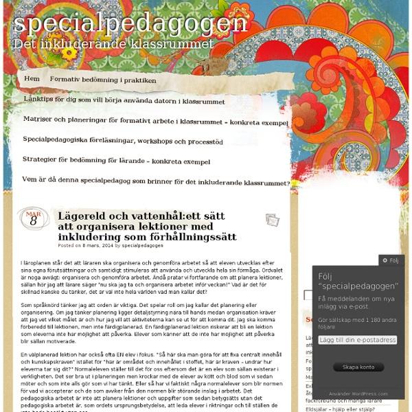 Lägereld och vattenhål:ett sätt att organisera lektioner med inkludering som förhållningssätt
