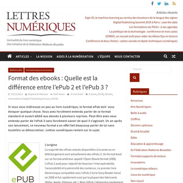 Format des ebooks : Quelle est la différence entre l'ePub 2 et l'ePub 3