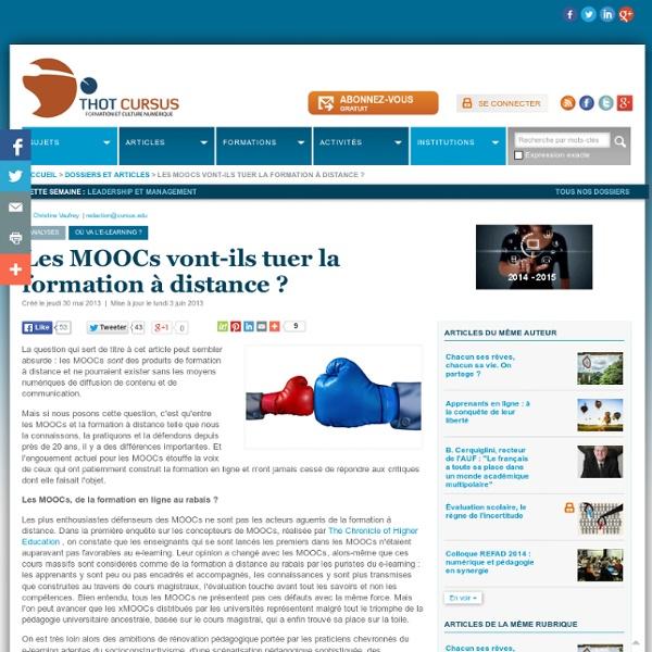 Les MOOCs vont-ils tuer la formation à distance ?