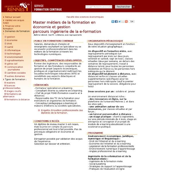 Master métiers de la formation en économie et gestion - parcours ingénierie de la e-formation