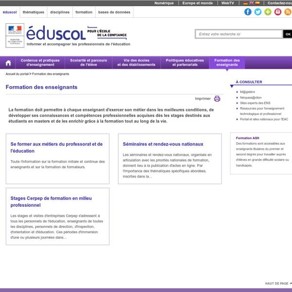 RUB. SITE Éduscol : Formation des enseignants