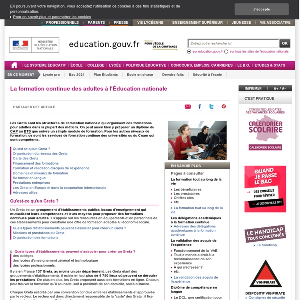 La formation continue des adultes à l'éducation nationale