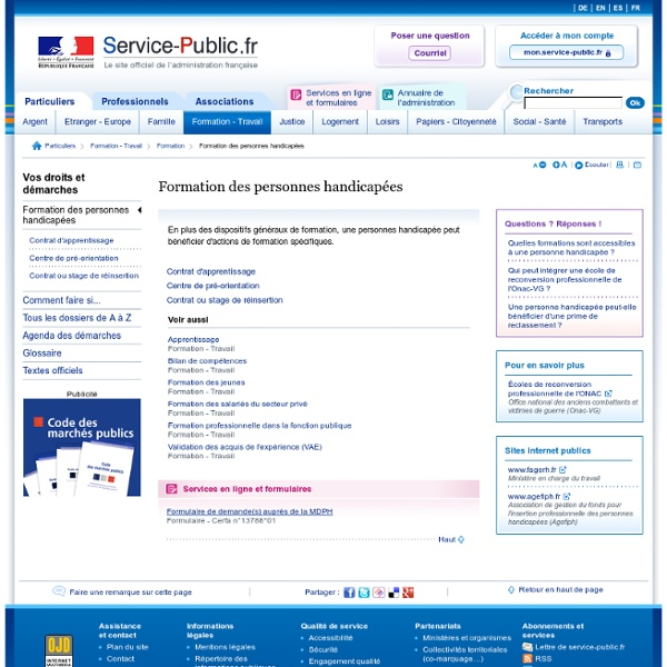 Formation professionnelle handicapées- service public