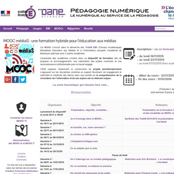 MOOC médiaS : une formation hybride pour l'éducation aux médias » Pédagogie numérique - DANE Besançon