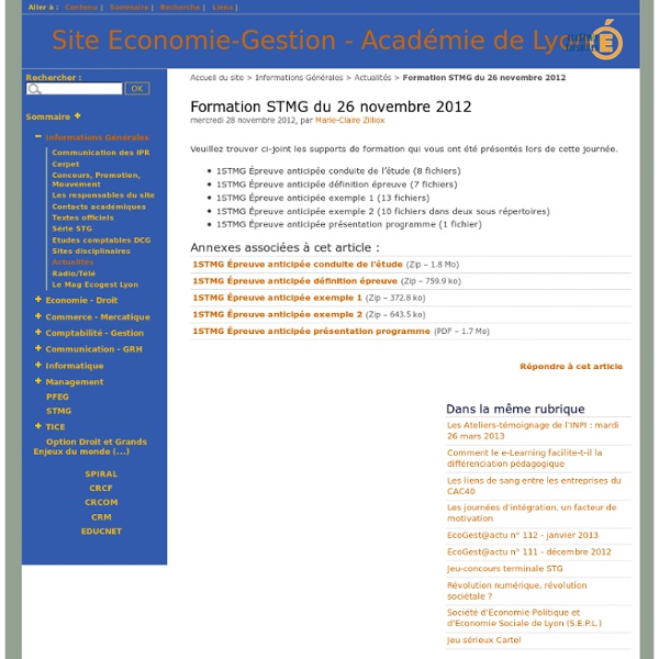 Formation STMG du 26 novembre 2012