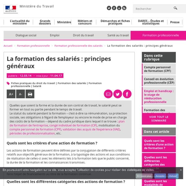 La formation des salariés : principes généraux - Formation professionnelle des salariés