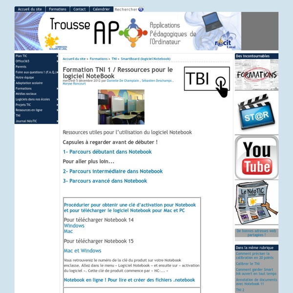 Formation TBI 1 / Ressources pour le logiciel NoteBook