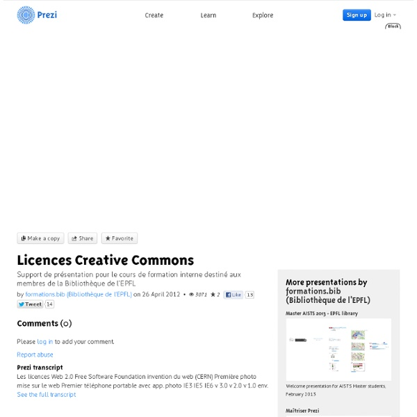 Licences Creative Commons by formations.bib (Bibliothèque de l'EPFL) on Prezi