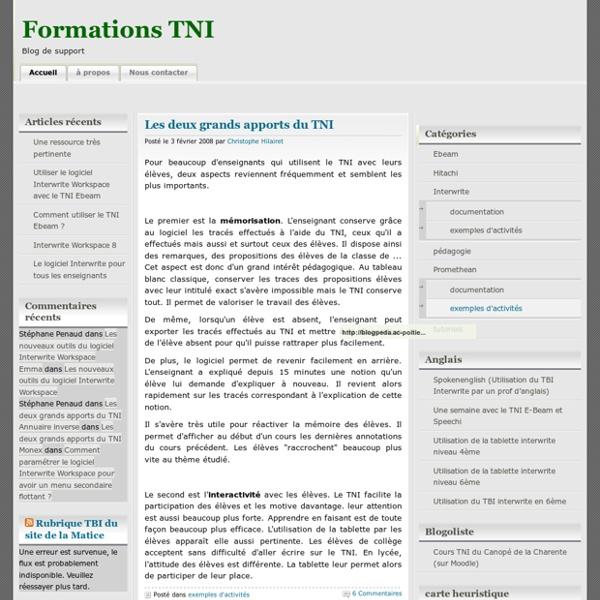 Formations TNI » exemples d'activités