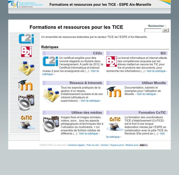 Formations et ressources pour les TICE
