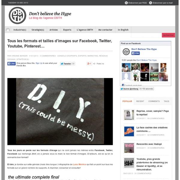 Tous les formats et tailles d'images sur Facebook, Twitter, Youtube, Pinterest…