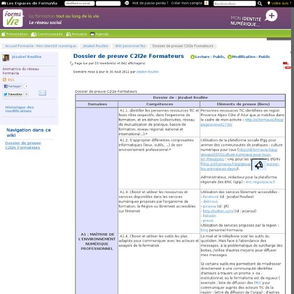 Dossier de preuve C2I2e Formateurs