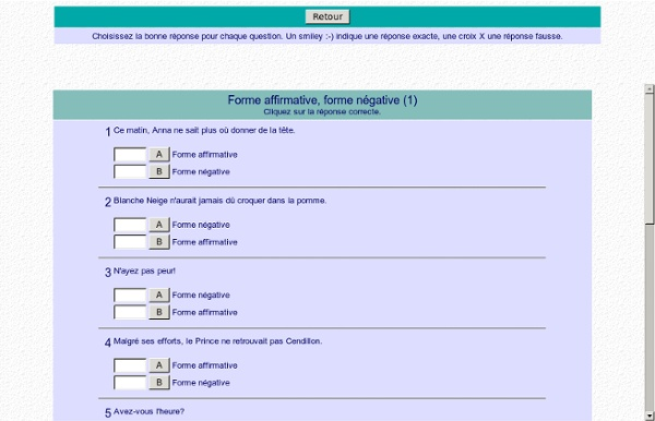Forme affirmative, forme négative (1)