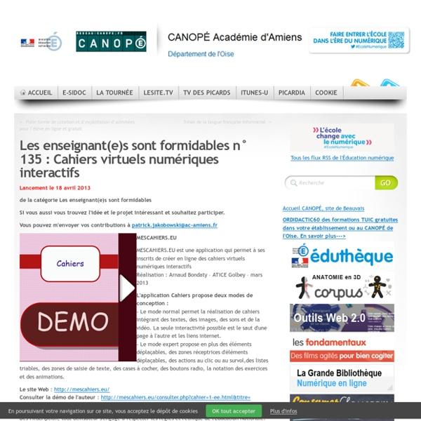 135 : Cahiers virtuels numériques interactifs