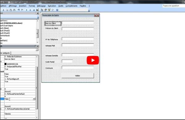 Créer un formulaire personnalisé sur Excel avec VBA - Avancé