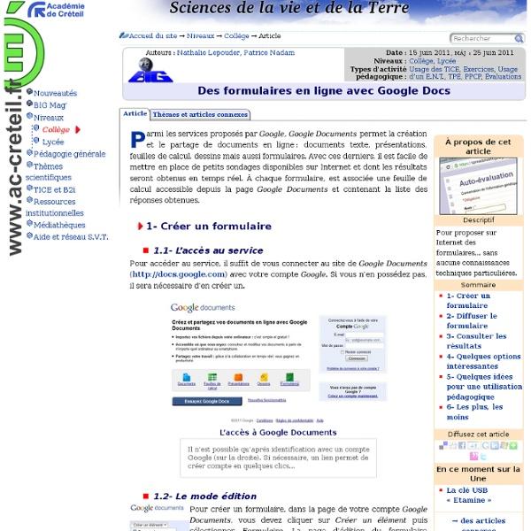 Des formulaires en ligne avec Google Docs