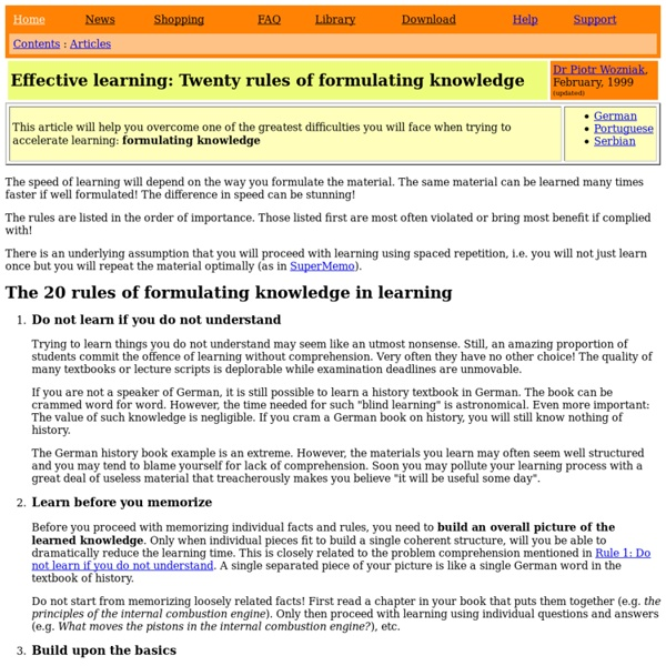20 rules of formulating knowledge in learning
