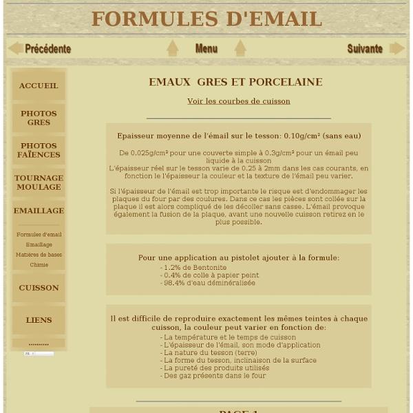 Formules chimiques pour la fabrication des émaux