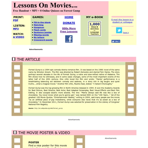 Forrest Gump: Lessons On Movies.com: ESL Lessons