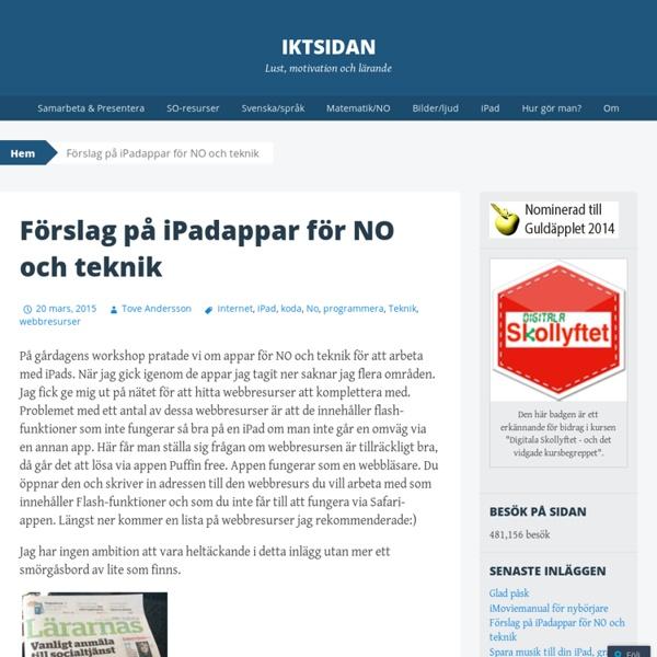 Förslag på iPadappar för NO och teknik