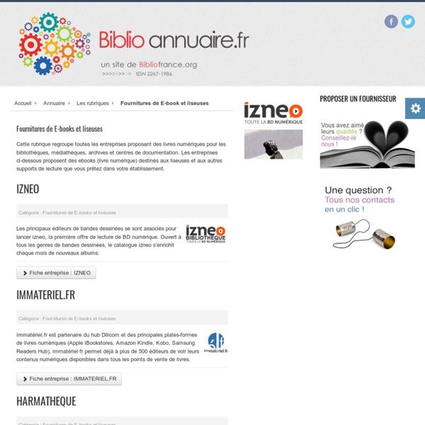 Annuaire des fournisseurs pour bibliothèques - Fournitures de E-book et liseuses