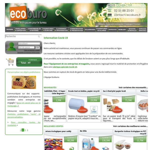 Fournitures de bureau écologiques, Ecoburo votre spécialiste