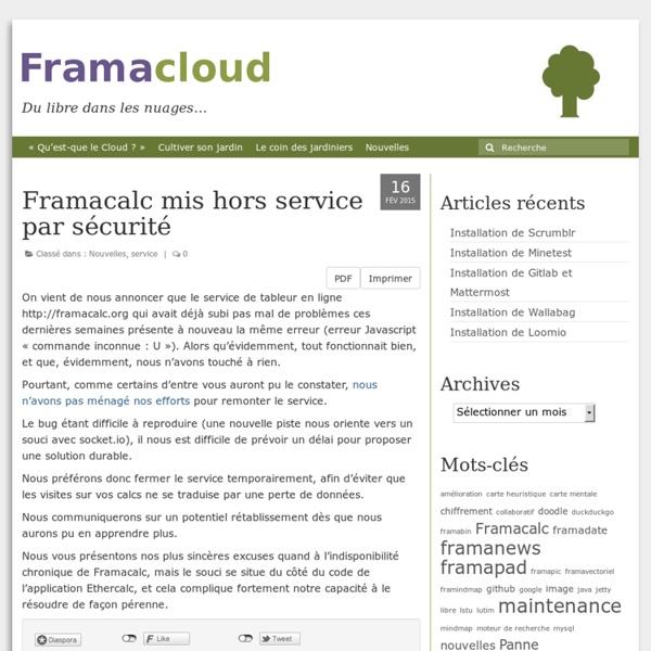 Framacalc mis hors service par sécurité – Framacloud