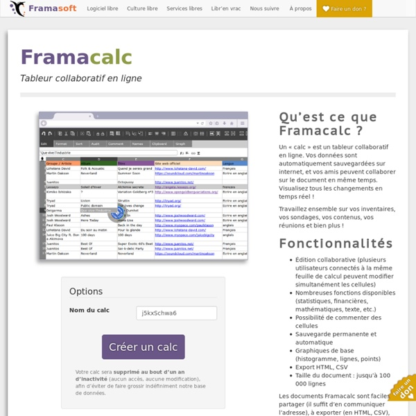Framacalc - Tableur collaboratif en ligne