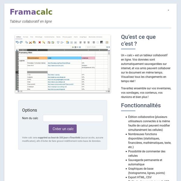 Framacalc - Tableur collaboratif en ligne
